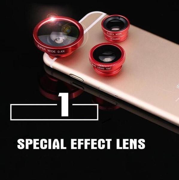 5 unids / lote regalo creativo ojo de pez tres-en-uno externo auto-temporizador lente de teléfono súper gran angular macro universal artefacto Selfie