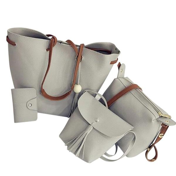 Borse da donna 4 pezzi Set Pu borsa a tracolla in pelle borsa a tracolla tote bag con nappe