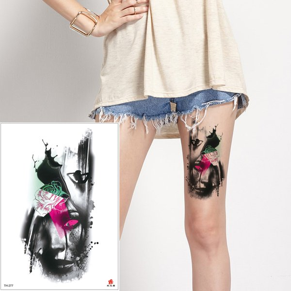 Sexy Black Personalize Waterproof Temporary Tattoo Body Art for Woman Men Adult Tattoo Girl Sticker Female Flower Ink Decal Paper Hot TH-277