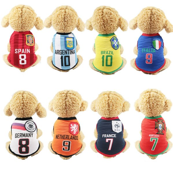 8 World Cup Patterns Dog Clothes Pets Dogs Breathful Cotton T-Shirt with Round Dog Collar Pet Supplies Dog Accessories