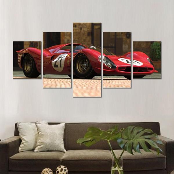 Satın Al 5 Takım çiçek Sanat Resimleri Boyama Ferrari Spor Araba