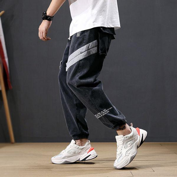 Mode Streetwear Hommes Jeans Lâche Stripe Sarouel Épissé Pantalon Big Pocket Cargo Pants Slack Bas Hip Hop Joggers Jeans Hommes