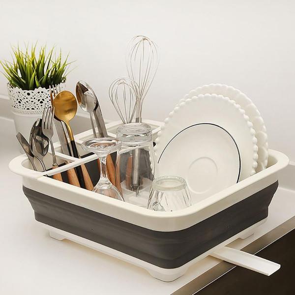 Soporte de almacenamiento de cocina estante de plato plegable escurridor tazón vajilla placa estante de secado portátil estante para el hogar vajilla organizador q190429