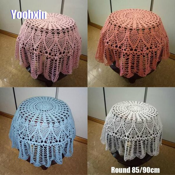 Modern Handmade Crochet White Table Cloth Cover Dining Lace Cotton Round Coffee Tablecloth Table mat Christmas Wedding Decor