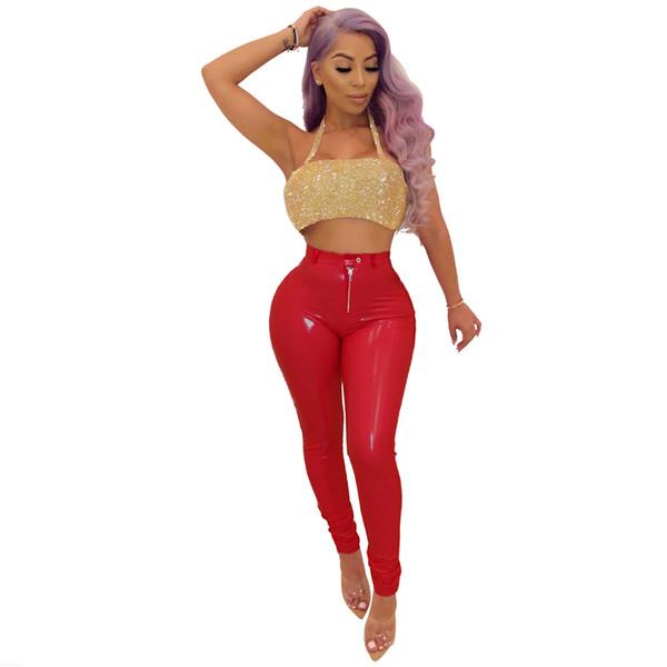 Calças de Látex Sexy Mulheres PU Spring Break Roupas Plus Size 50% de Cintura Alta Brilhante Capris Faux Leather Magro Calças Wetlook