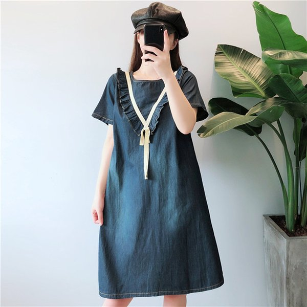 New Summer Style Women Dresses Plus Size Fashion O-Neck Casual Loose Solid Slim Jeans Dress For Women Larger Denim One-Piece 5XL