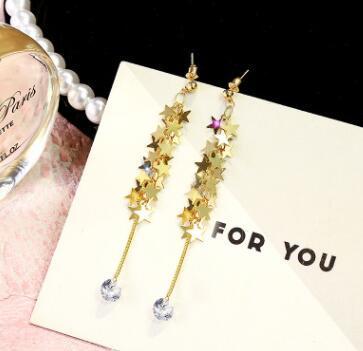 Frauen Luxus Quaste Hoop Designer Ohrringe Mode Sterling Silber Ohrstecker Kristall Sterne Baumeln Kronleuchter Ohrringe Freies Verschiffen