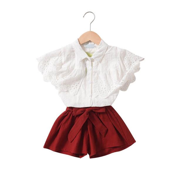 2019 new kids designer clothes girls suits lace princess girls boutique outfits kids sets blouse shirt+bows shorts kids sets A5612