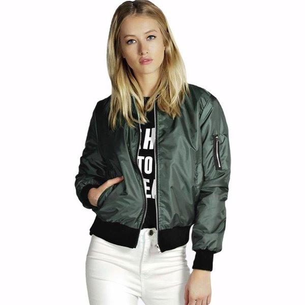 ac5f209a46f Plus Size Autumn Women Thin Jackets Tops MA1 Basic Bomber Jacket Long  Sleeve Coat Casual Stand
