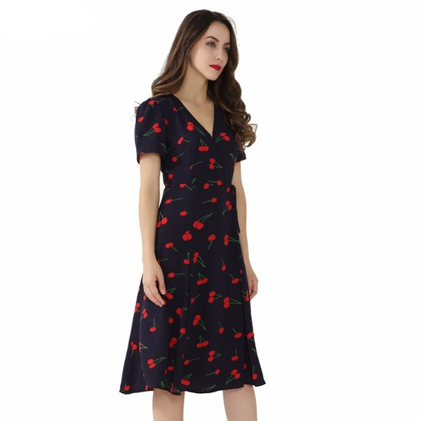 Vintage V Neck Floral Pattern Midi Wrap Dress Cherry Dress Bow Tie Cross Design Short Sleeve Retro Vestido Mujer