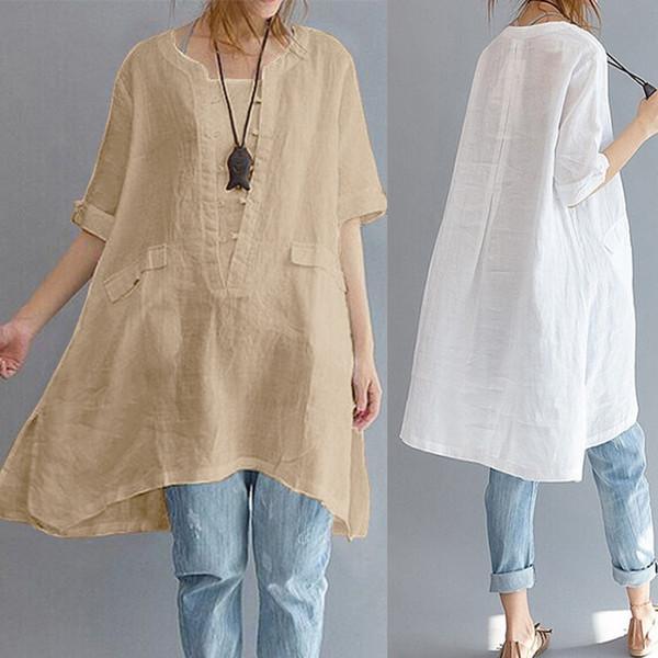 Faylisvow 4xl 5xl Kadınlar Pamuk Artı Boyutu Bluz Baggy O Boyun Kısa Kenar Gevşek Bluzlar Tops Basit Keten Bluz Y19071201