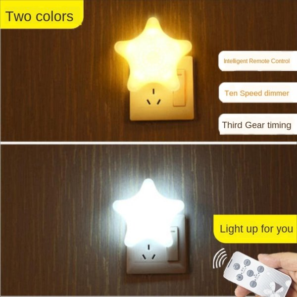 top popular Plug-in small bubble remote control bedroom bedside luminous socket energy-saving baby feeding table lamp sleep bedside Night Light Night Li 2021