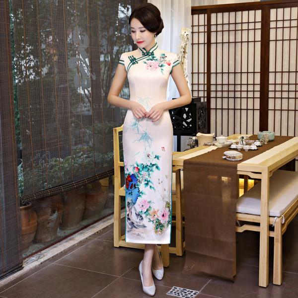 2019 Primavera Verano Imprimir Cheongsam China Vestidos Largos de Alta División Delgado Qi Pao Mujeres Vestido Vintage Chino Qipao Orientale Robe