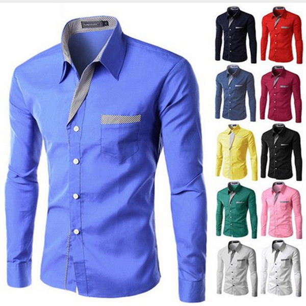 LAAMEI New Fashion Brand Camisa Masculina Long Sleeve Shirt Men Korean Slim Design Formal Casual Male Dress Shirt Plus Size