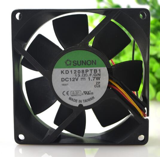 Ursprünglicher SUNON 8025 KD1208PTB1 DC12V 1.7W 80 * 80 * 25MM 8CM 3 Draht axialer Kühlungslüfter