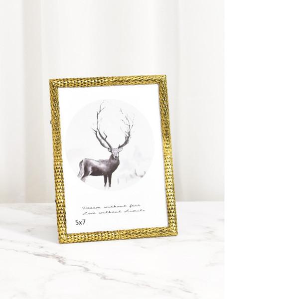 European retro luxury 6 inch 7 inch rose flower frame set art creative metal photo frame gift small ornaments