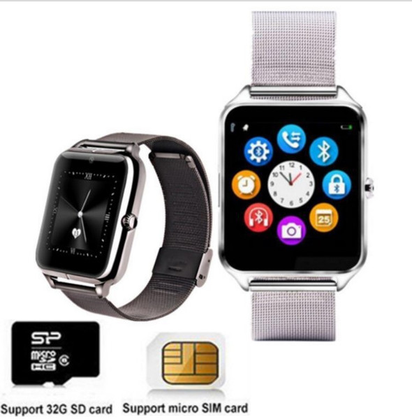 Bracelet montre en acier inoxydable Montre intelligente Bluetooth Femmes Hommes Montre carte SIM TF Camera Smartwatch