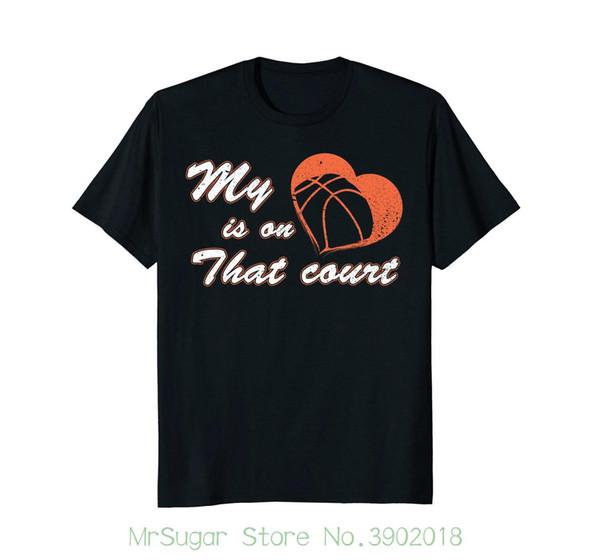 Basketballer Meu Coração Está Em Que Tribunal T-shirt Mangas Curtas Nova Moda T-shirt Dos Homens de Roupas