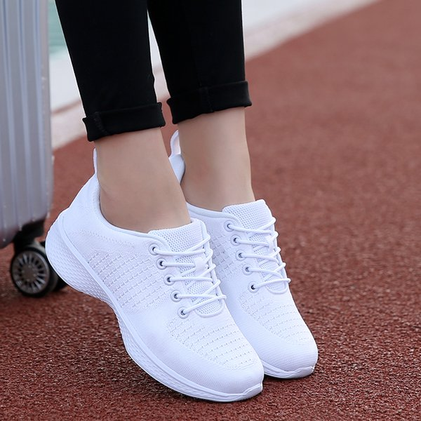 White Fly Line Jogging Shoes for Women Outdoor Breathable Sneakers Female Spring Autumn Sport Running Shoes Travel Tennis