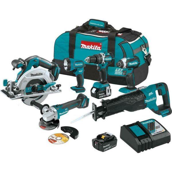 Makita 18v 6 combo kit power tool hammer driver drill impact driver aw grinder