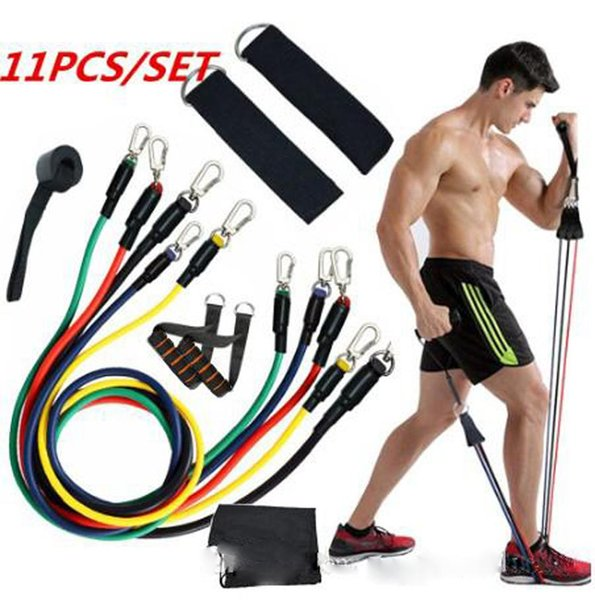 top popular US Stock! 11pcs set Exercises Resistance Bands Latex Tubes Pedal Body Home Gym Fitness Training Workout Yoga Elastic Pull Rope Equipment 2021