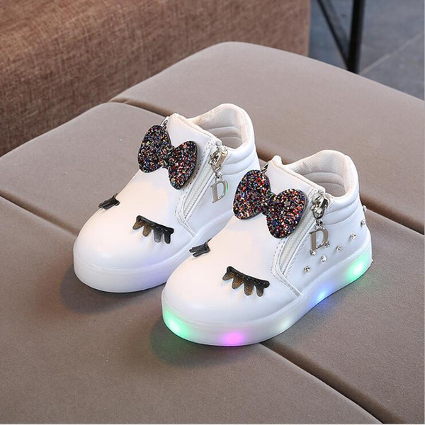 Kids Baby Infant Girls Crystal Bowknot Led Luminous Boots Shoes Sneakers Butterfly Knot Diamond Little White