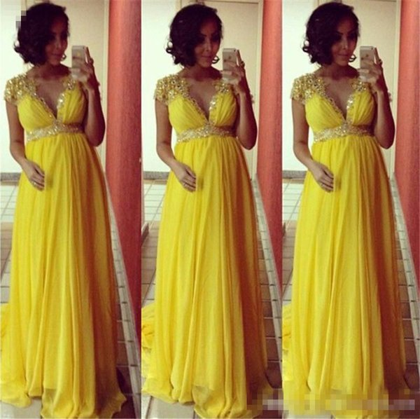 Simple Empire Chiffon Pregnant Women Evening Dresses With Short Sleeves Beads Crystal Floor Length Formal Party Special Occasion Wear