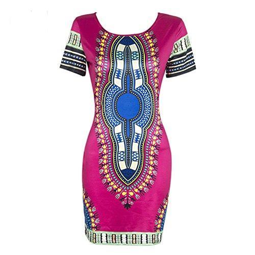 Knight Horse Женщины Традиционный Африканский Принт Dashiki Bodycon Плюс Размер Платье С Коротким Рукавом