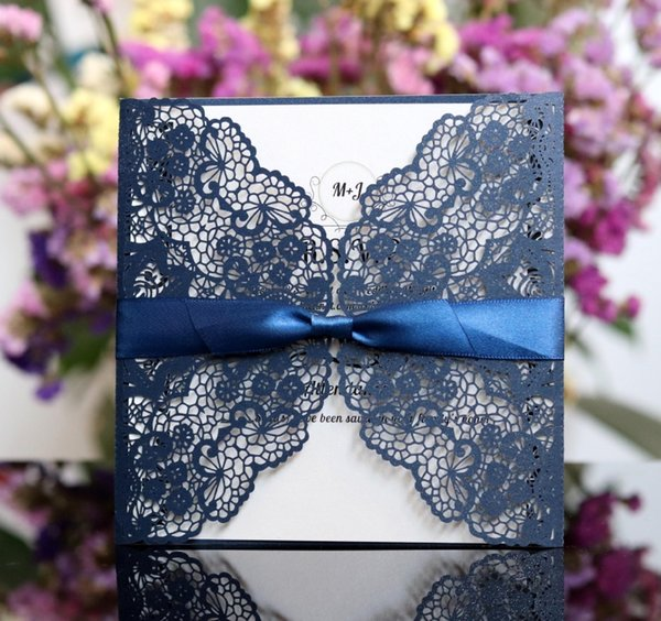 New 2019 Wedding Invitation Cards Exquisite Personalized Printable Laser Cut Flora Hollow with Bowknot Chinese Wedding Favors Hot Selling
