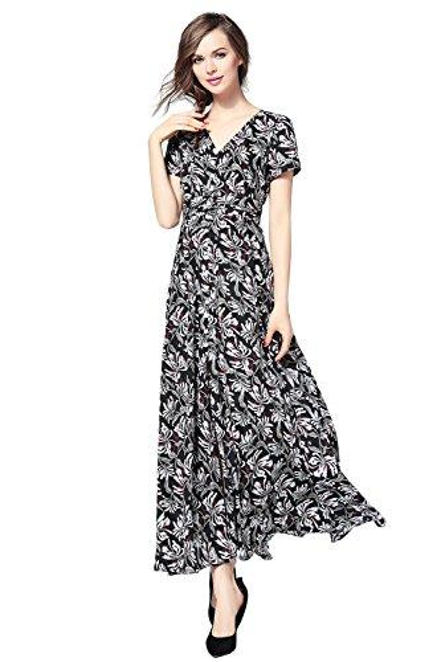 Joy EnvyLand Mujeres Floral Button Up Cocktail Prom Party Garden Picnic Maxi vestido