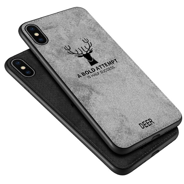 Deer Hybrid TPU + PU Leather Cloths Case cover For Iphone XR X XS Max 6 7 8 plus 100pcs simple opp
