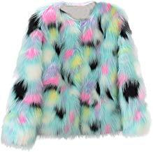 Womens Winter Warm Colorful Faux Fur Coat Chic Jacket Cardigan Outerwear Tops Down Jacket for Party Club Cocktail