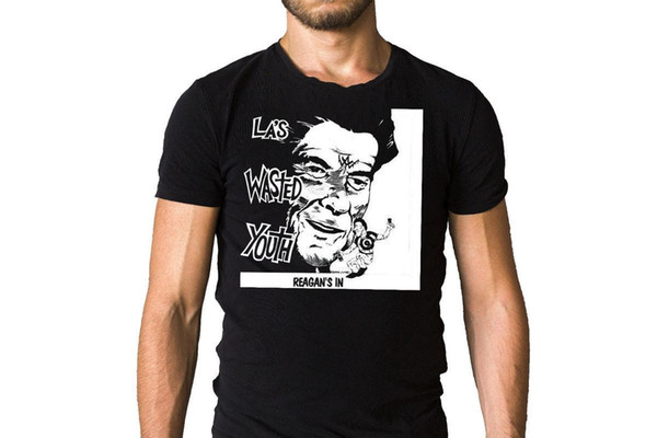 LA's Wasted Youth Reagan en 1981 Autorización Song Song Camiseta negra Venta caliente 100% algodón Venta caliente Camiseta de los hombres