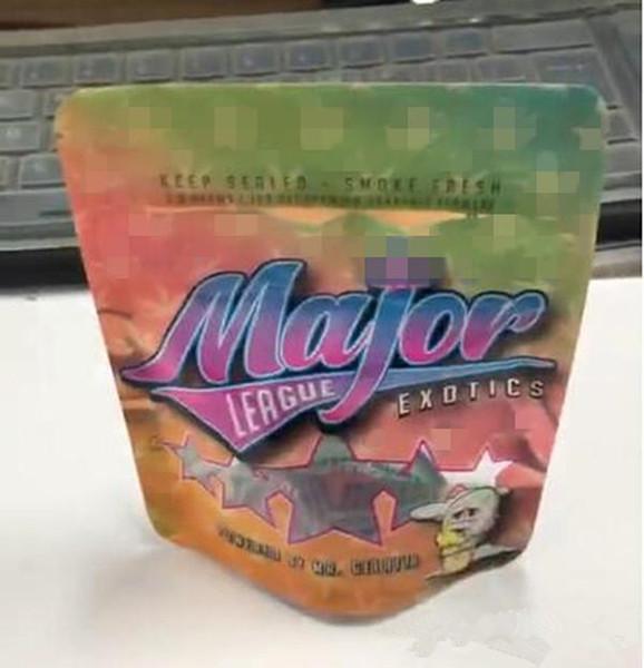 vape neuester 3,5 Gramm Plastik Geruch Beweis Taschen Major League exotics Beutel für trockenes Kraut Blume Verpackung benutzerdefinierten