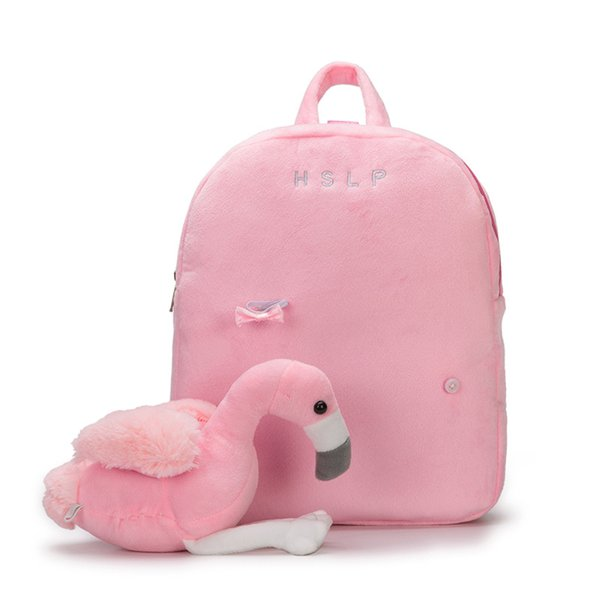Flamingo/unicorn Backpack Prevent Fall Cute Cartoon Traction Bags Kids Doll Plush Soft Backpack Toy For Kindergarten Girl Hot