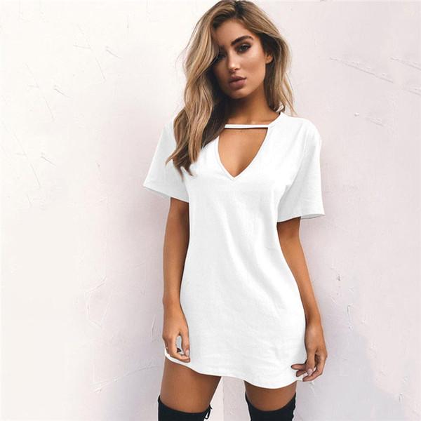 Livraison Gratuite Vente Chaude Robes De Vente Pour Les Femmes Vêtements De Mode À Manches Courtes Casual Lâche Col En V T-shirt Dress Plus La Taille S-XXL YKD2