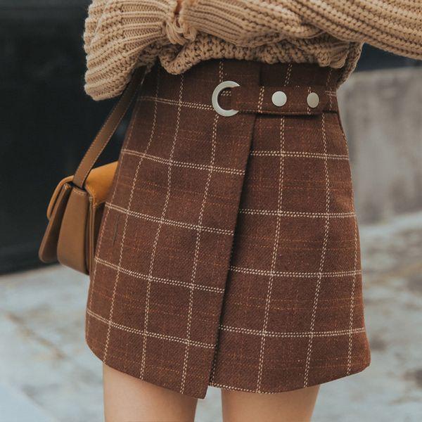 Women's Autumn And Winter Harajuku Thickened Woolen Plaid Skirt Female Cute Japanese Kawaii Skirts For Women
