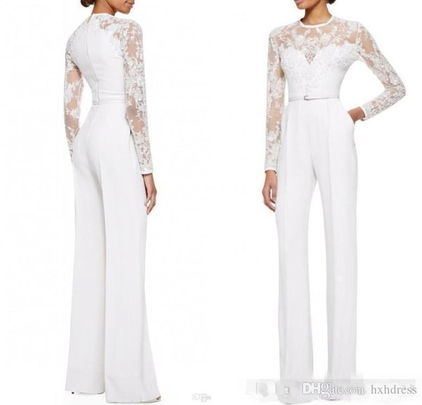 Long SLeeves White Jumpsuit Mother of the Bride Suit Plus Size Sheer Neck Women Wedding Party Wear Long Sleeves Lace Dress