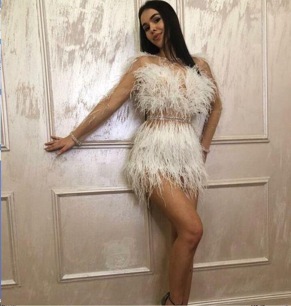 Evening dress Sheath Long Sleeve Mini Jewel Tulle Feather White Classic Customizable in any size Modern 1 Customizable james_paul