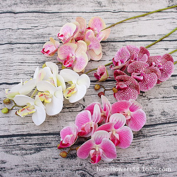 3D fiori di orchidea farfalla artificiale falso falena flor fiore di orchidea per la casa matrimonio decorazione fai da te tocco reale decorazioni per la casa Flore2019