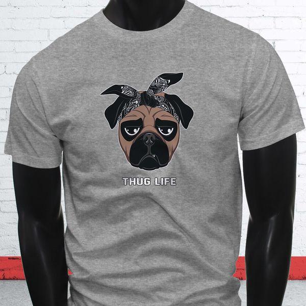 Thug Life West Coast Pug Bandana LA Cute Puppy Mens Gray T-Shirt colour jersey Print t shirt