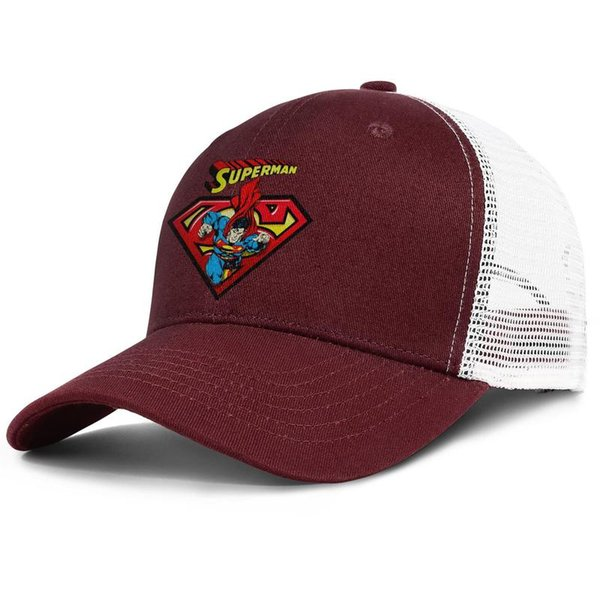 Cartoon Design Of Superman burgundy for men and women trucker cap ball design custom Hipster hats