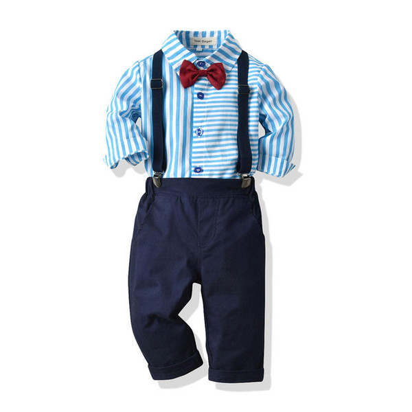 Baby Boys Clothing Sets Spring Autumn Kids Fashion Gentleman Wedding Tops+Bib Pants 2pcs Tracksuits For Boys Children Birthday Party Outfits