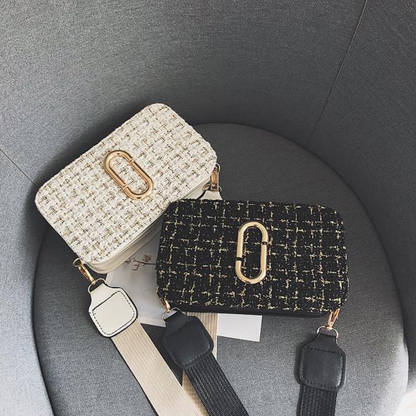 xiniu Women Simple Shoulder Bag Women Woolen Plaid Small Square Bag Wide Shoulder Strap Wild Messenger Mini #0315