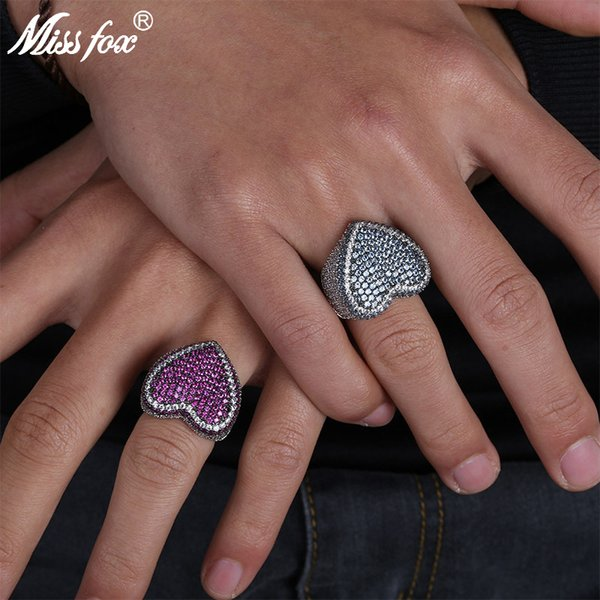 MISSFOX Hip Hop Corazón Lindo Sharp Micro Mosic Rojo / Azul HQ Cubic Zirconia Iced Out Romantic Women Men Platinum Party Ring