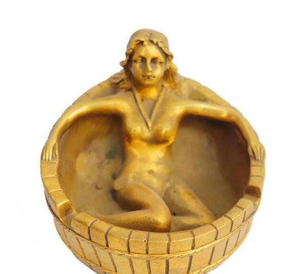 Copper brass beautiful cylinder character ashtray crafts ornaments metal souvenir desktop ornaments