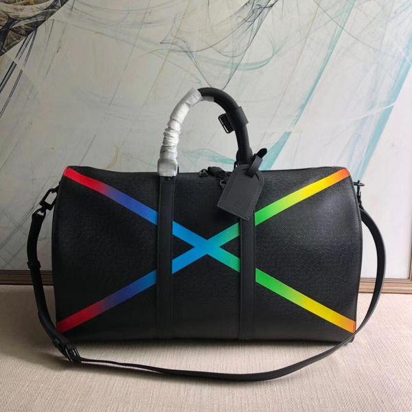 Yüksek kalite 2019 yeni stiller Keepall Bandouliere çanta yeni M30345 gökkuşağı siyah deri lüks seyahat bagaj çanta duffle omuz çantası