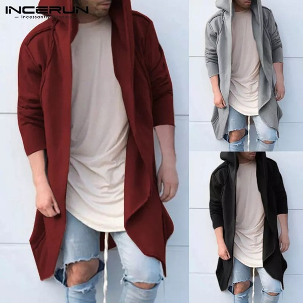 ZOGAA Fashion Street Wear Men Long Hooded Thin Cardigan Cape Coats Casual Men Long Sleeve Cotton Jacket European Size S-3XL