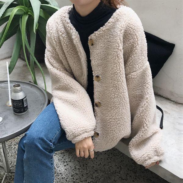 Warm Winter Fleece Coat Women Pocket Beige Lamb Thick Outerwear Casual Vintage Single Breasted Loose Womens Jackets DS50785