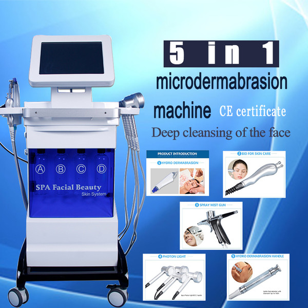 5 in 1 hydrodermabrasion hydra facial bio microcurrent Oxygen spray LED light therapy anti aging wrinkle removal face lift spa machine